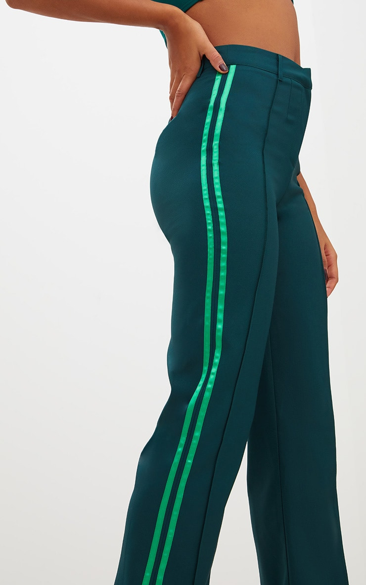 Dark Green Track Stripe High Waisted Straight Leg Trousers 5