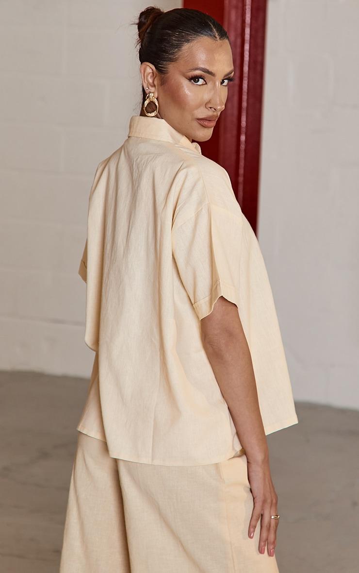 Beige Linen Feel Oversized Boxy Pocket Short Sleeve Shirt 2