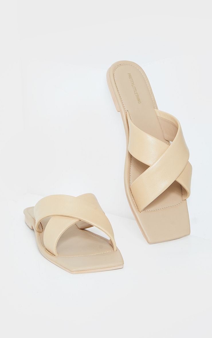 Sand Leather Square Toe Cross Strap Mule Flat Sandals 4