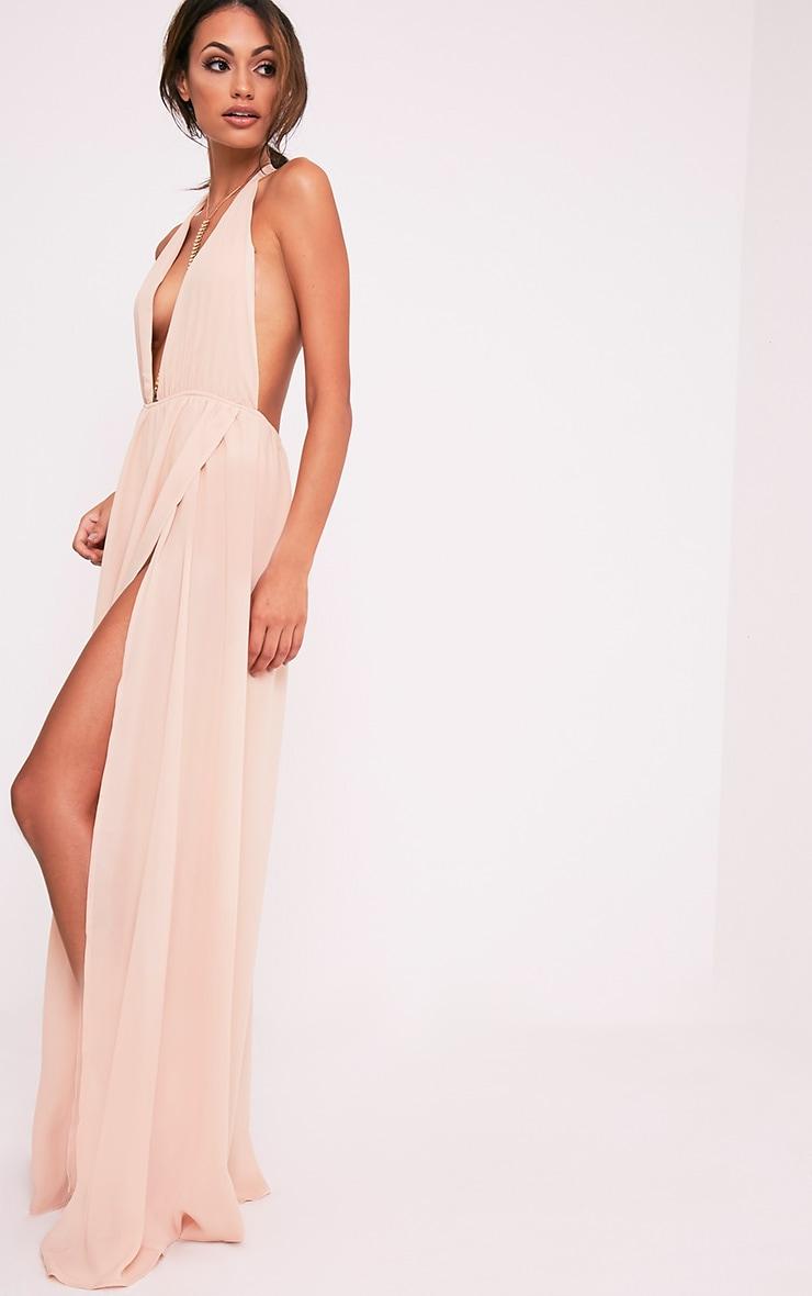 Alina Nude Plunge Maxi Dress 4
