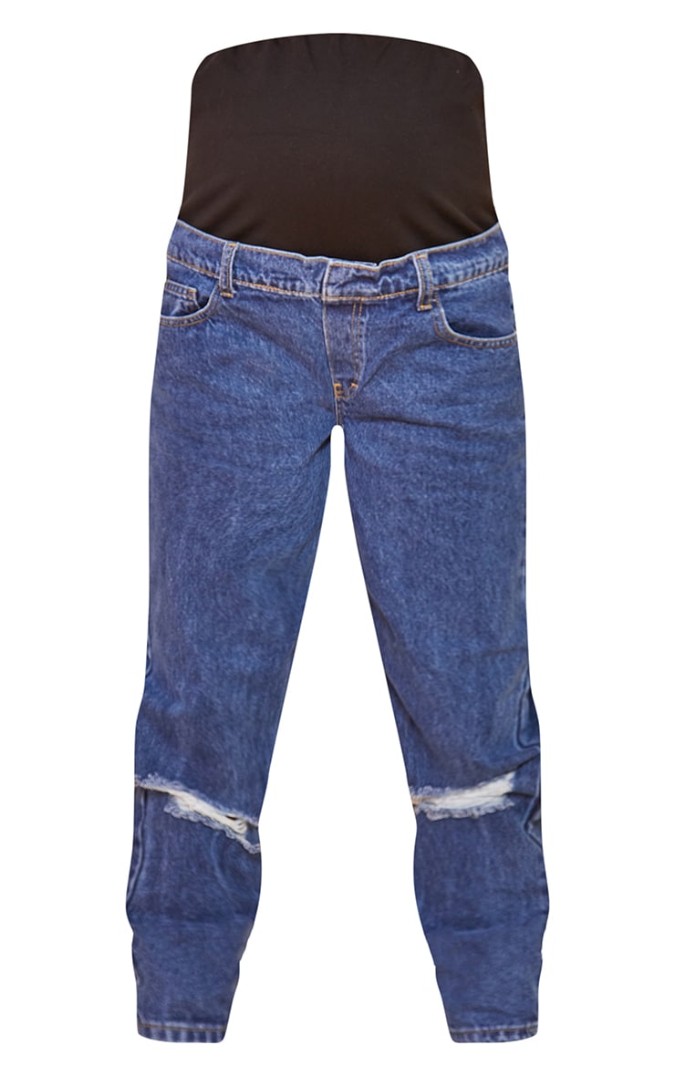 Maternity Blue Mid Wash Ripped Knee Mom Jeans 5