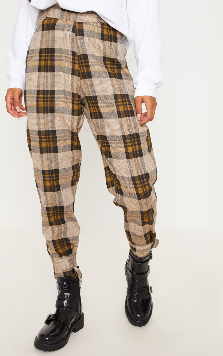Brown Check Peg Leg Trousers 2
