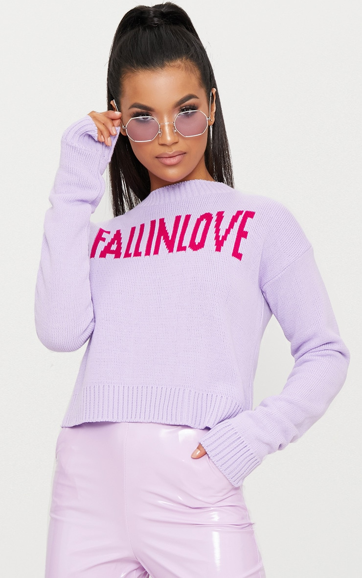 Lilac Fall In Love Slogan Knitted Jumper 1