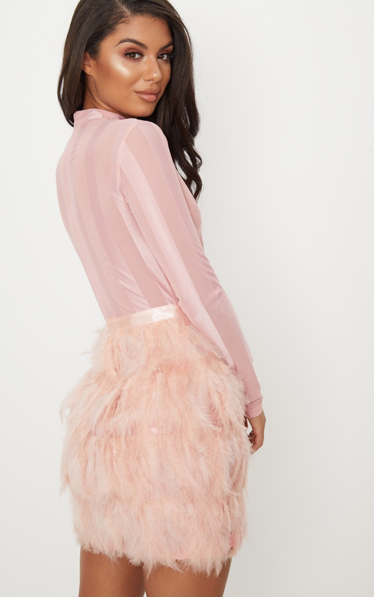 Dusty Pink Feather Skirt Bodycon Dress 2