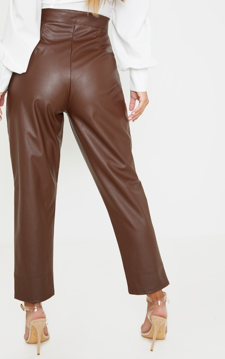 Petite Chocolate Faux Leather Slim Leg Trousers 4