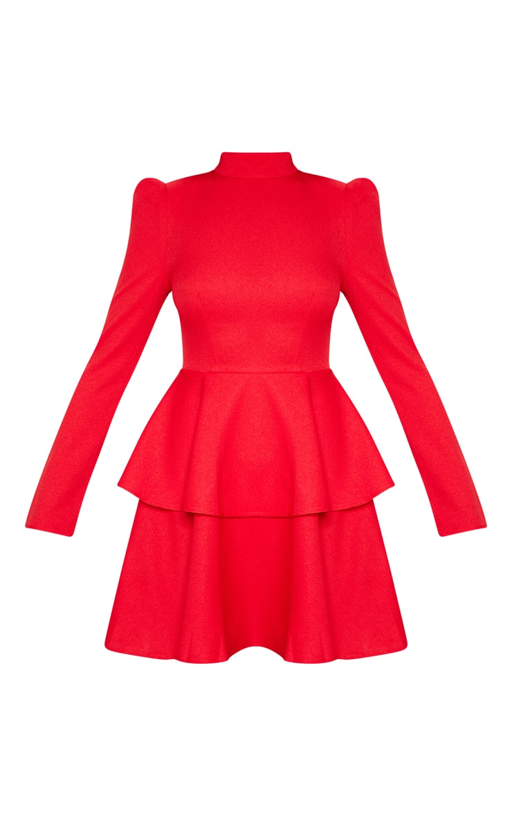 Red High Neck Tiered Skater Dress 3