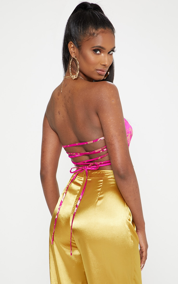Pink Satin Oriental Jacquard Lace Up Back Bandeau Top 2