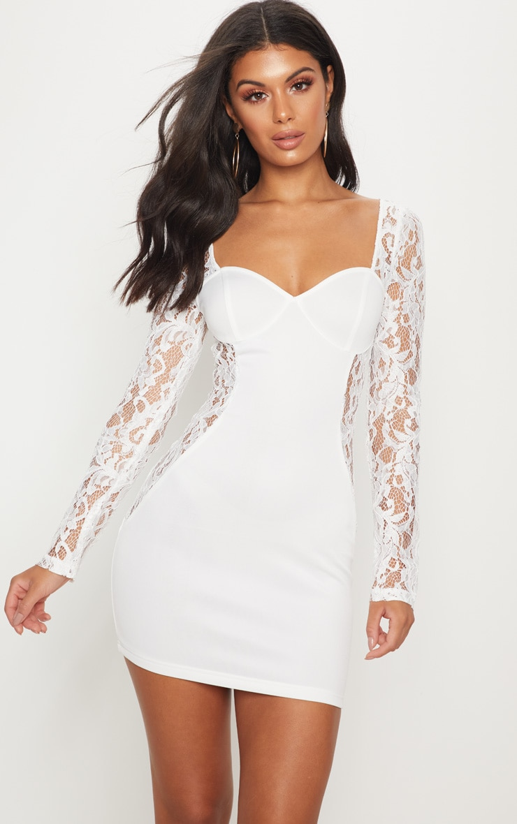 White Lace Insert Cup Bodycon Dress 1