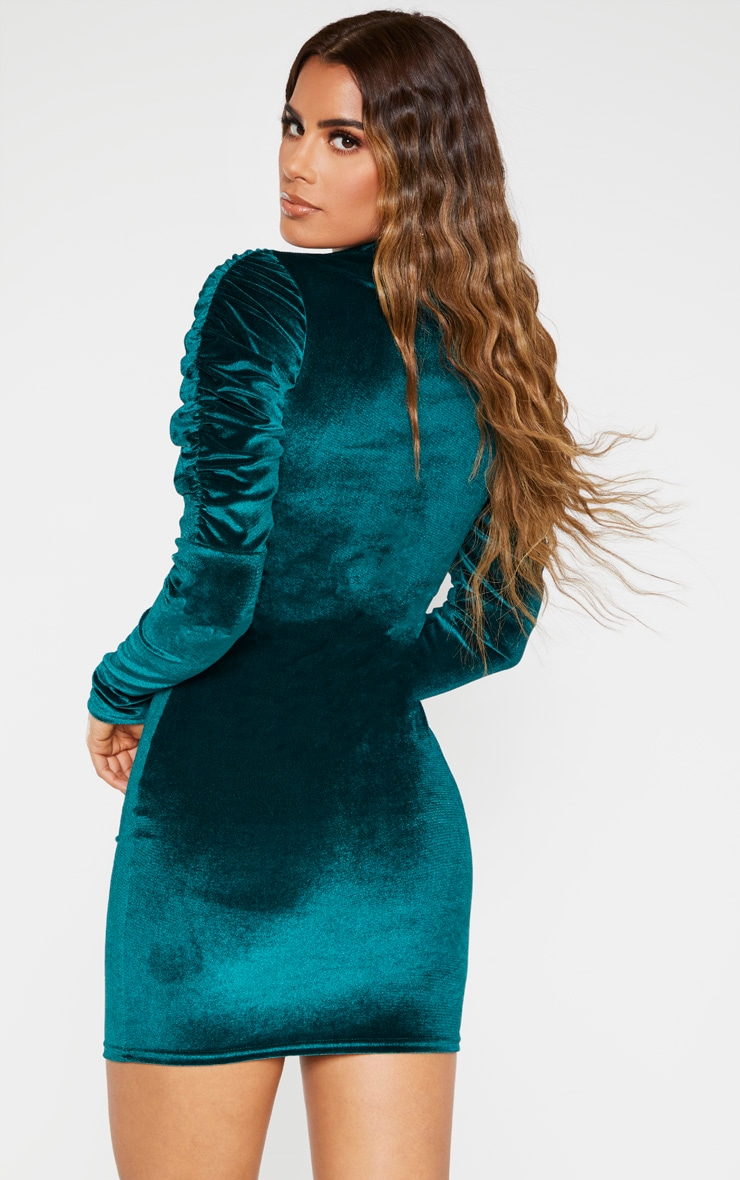Tall Emerald Green Velvet Puff Sleeve Mini Dress  2