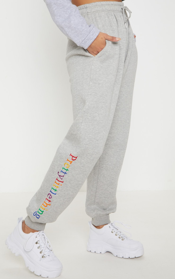 PRETTYLITTLETHING Grey Multi Embroidered Joggers 2