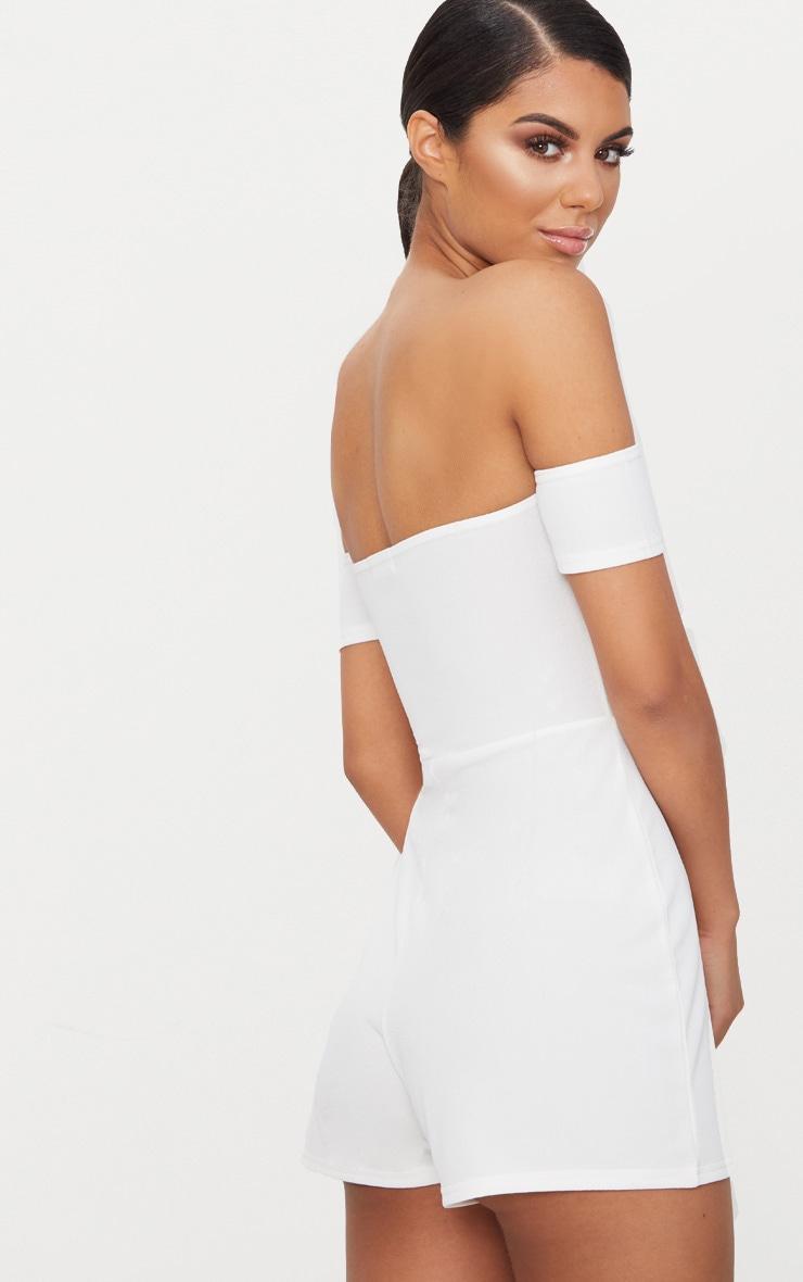 White Crepe Short Sleeve Bardot Playsuit 2