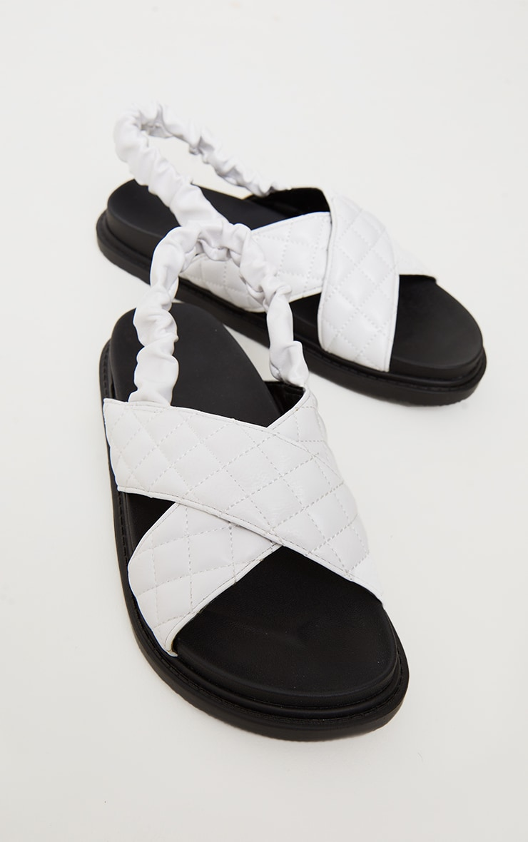 White Quilted Cross Strap Slingback Chunky Sandals 4