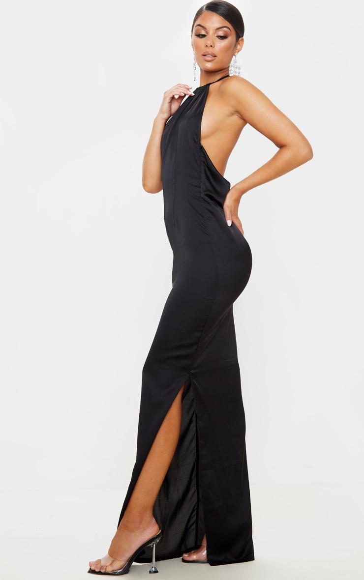 Black Cowl Back Halterneck Maxi Dress 4