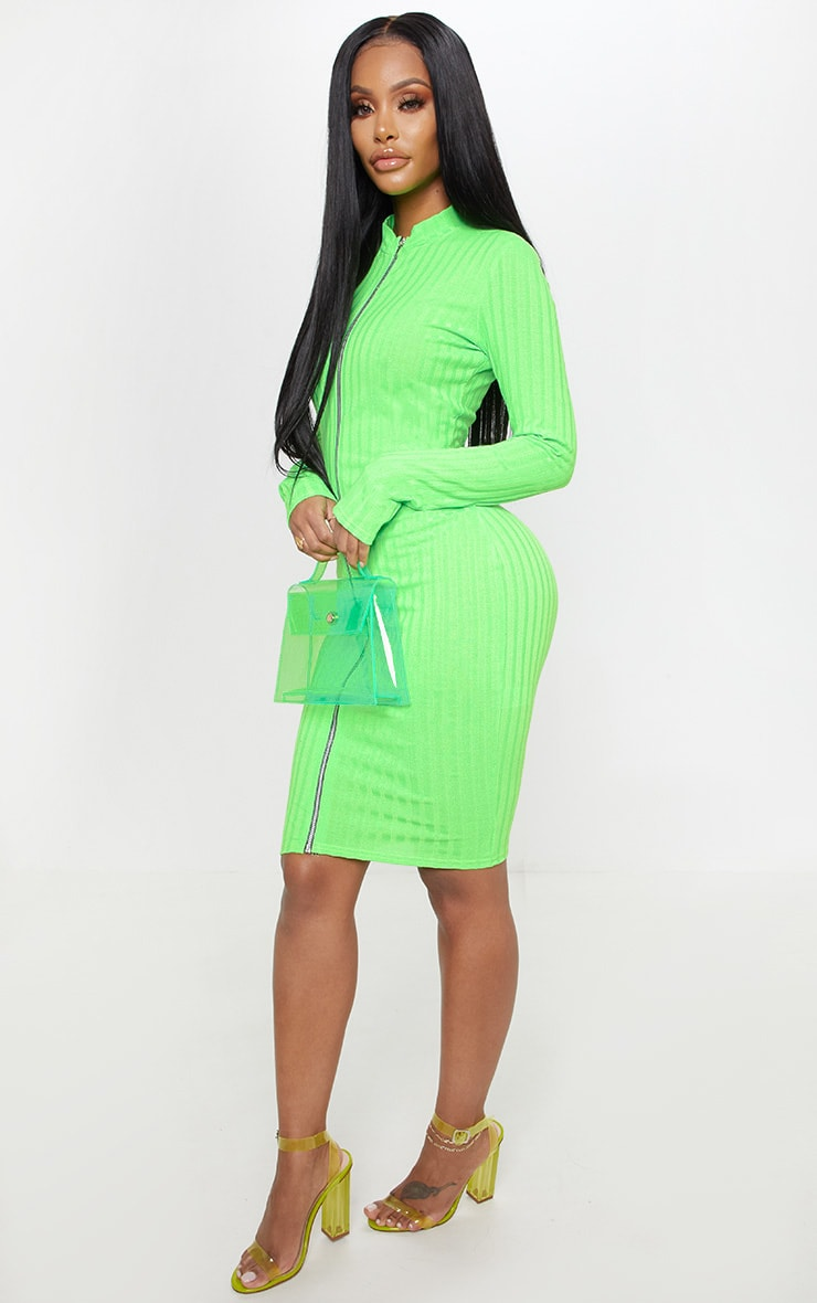 Shape Neon Lime Ribbed Zip Front Bodycon Dress 4