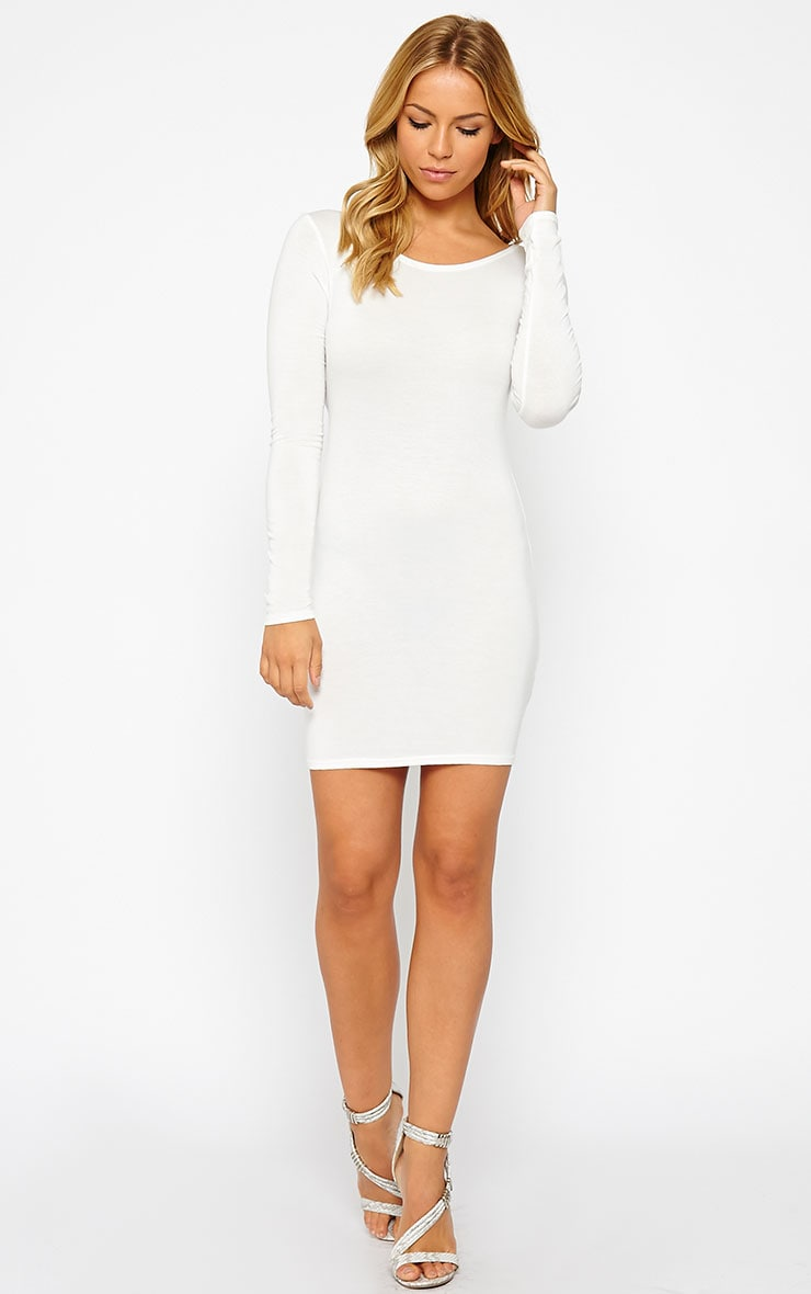 Basic Cream Long Sleeve Jersey Mini Dress 3