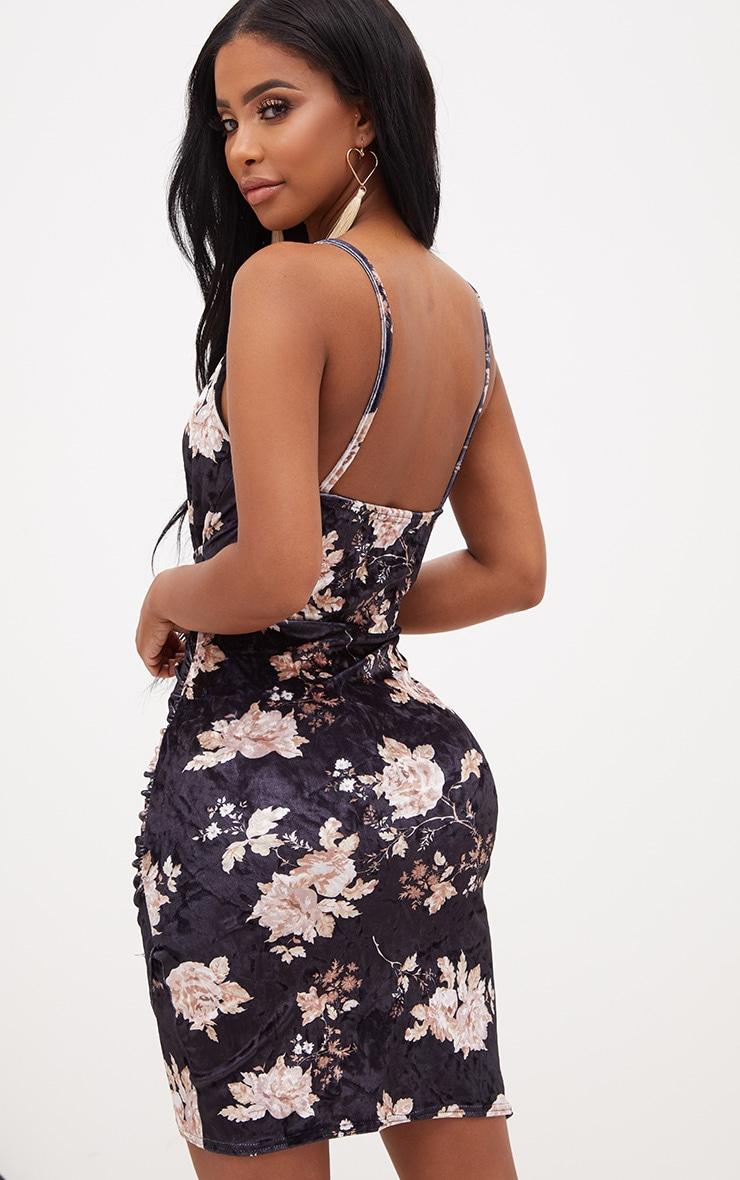 Shape Black Floral Velvet Wrap Front Dress 2