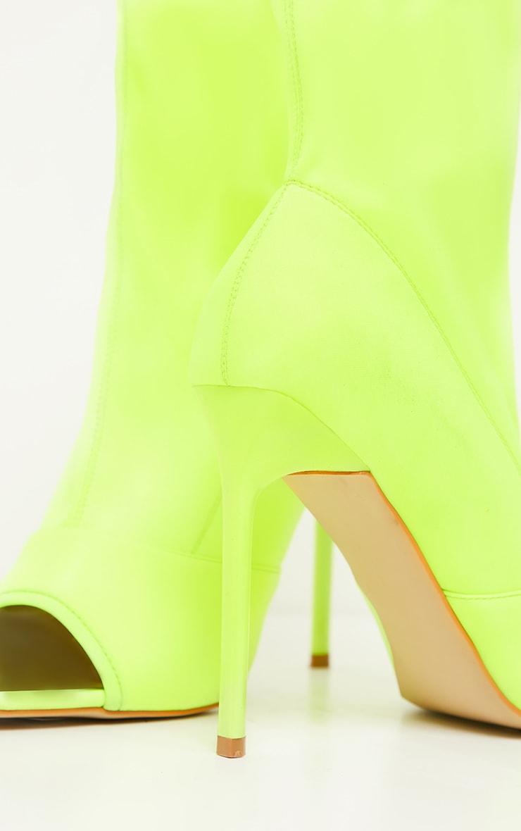 Bottines-chaussettes vert citron fluo à bout carré ouvert 3