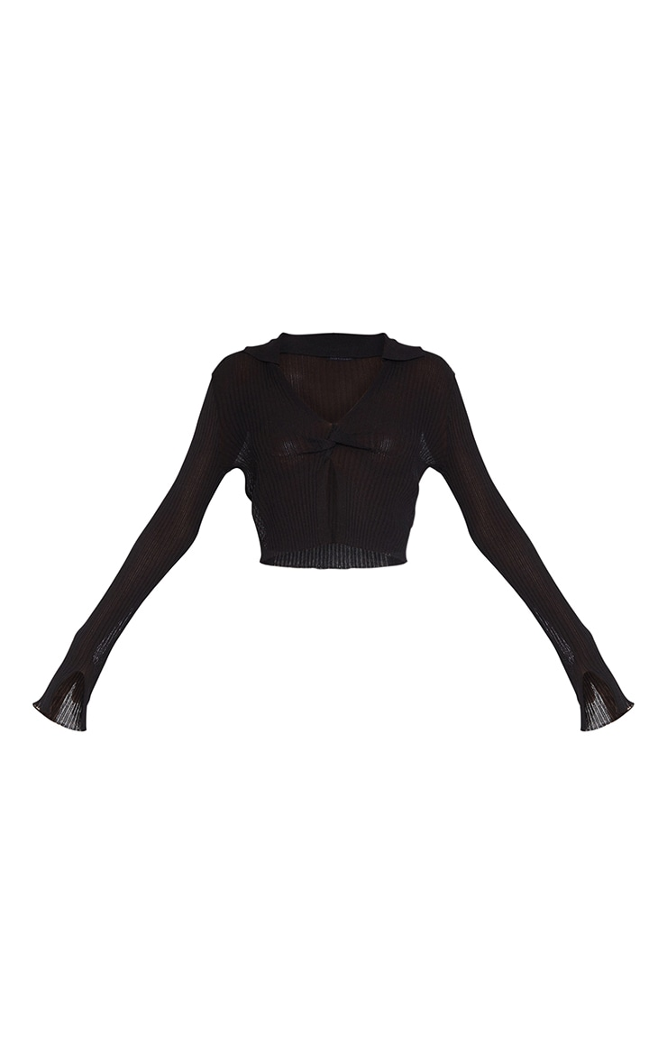 Tall Black Sheer Knitted Rib Twist Front Top 5