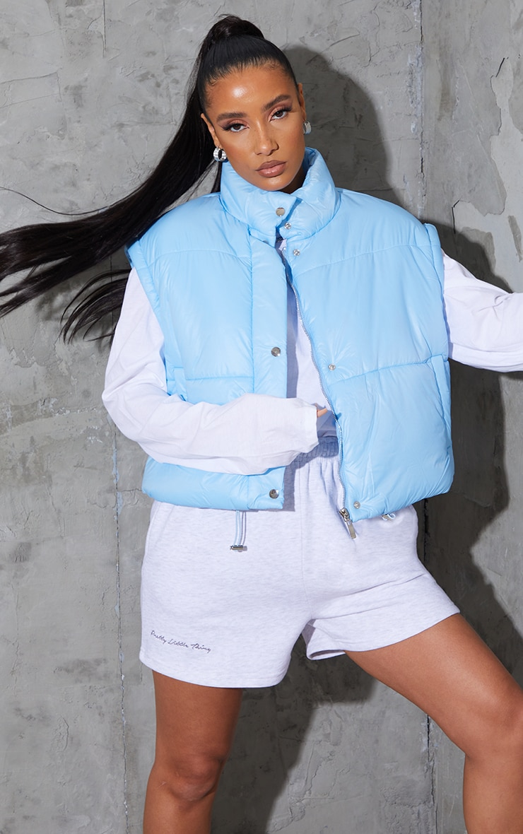 Light Blue Detachable Arm Gilet Puffer Jacket 1