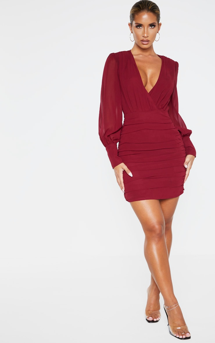Burgundy Long Sleeve Chiffon Ruched Bodycon Dress 4