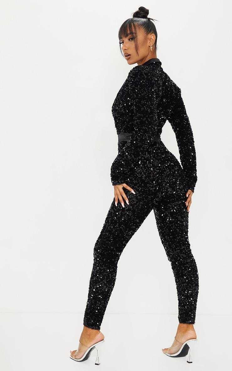 Black Premium Velvet Sequin Plunge Front Tailored Jumpsuit 2