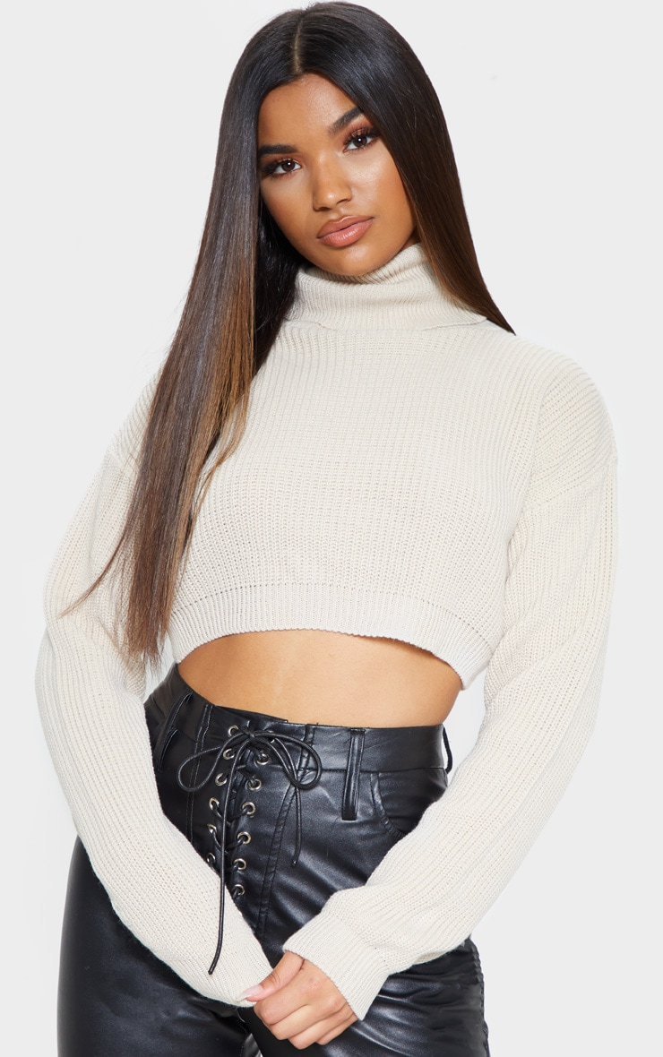 Stone Super Cropped High Neck Knitted Jumper 1