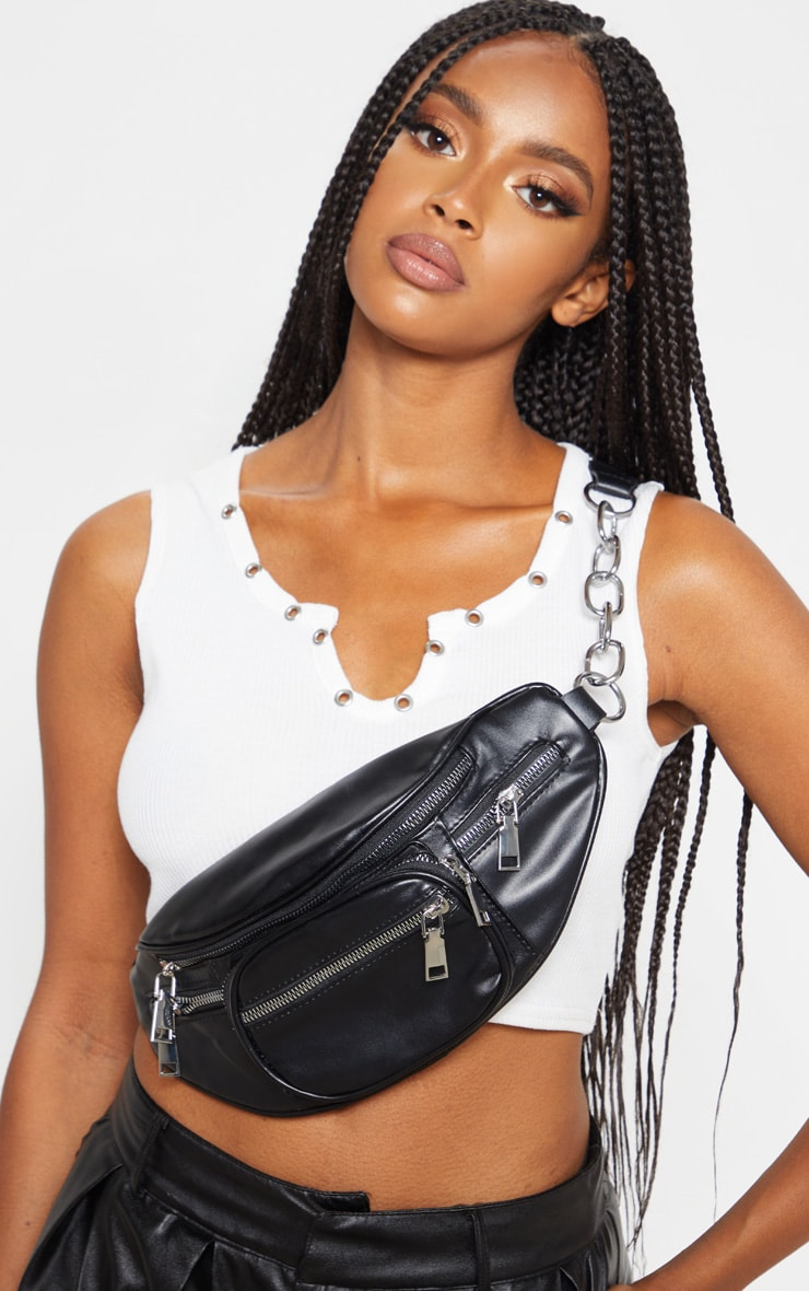 Black Pu Multi Pocket Zip Bum Bag by Prettylittlething