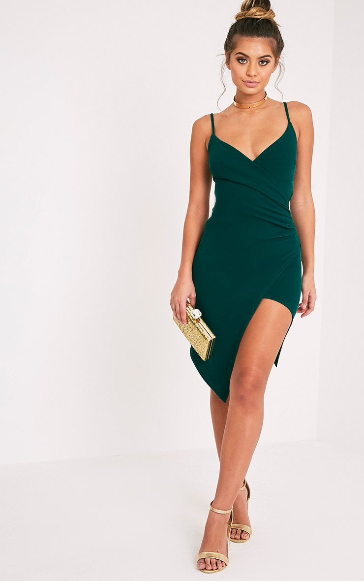 Lauriell Emerald Green Wrap Front Midi Dress 2