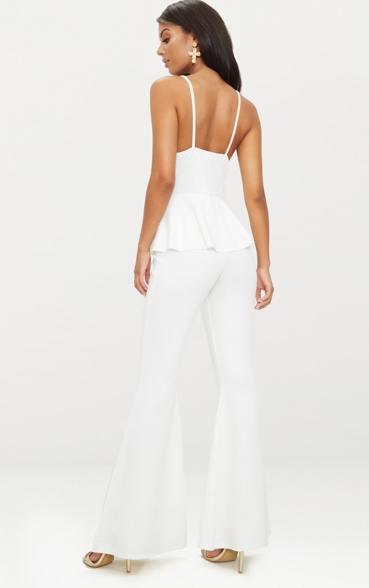 White Strappy Peplum Jumpsuit 2
