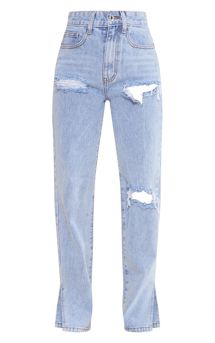 Petite Bleach Wash Ripped Split Hem Jeans 5