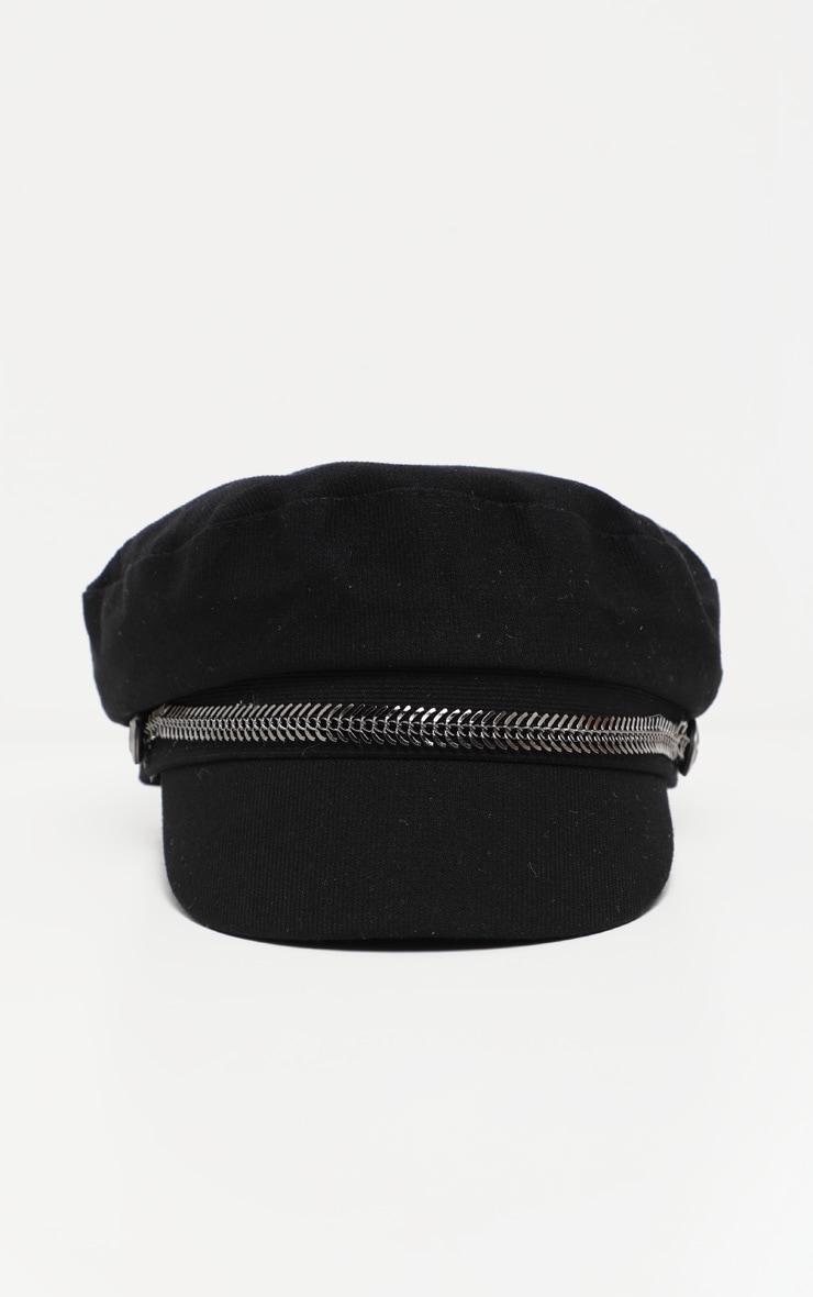 Black Baker Boy Hat With Gun Metal Grey Trim 3
