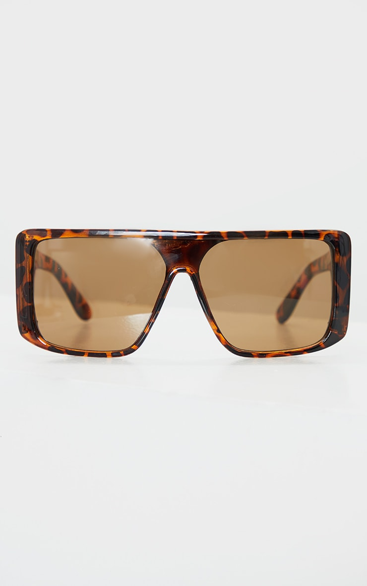 Brown Tortoise Oversized Triple Lens Square Frame Sunglasses 1