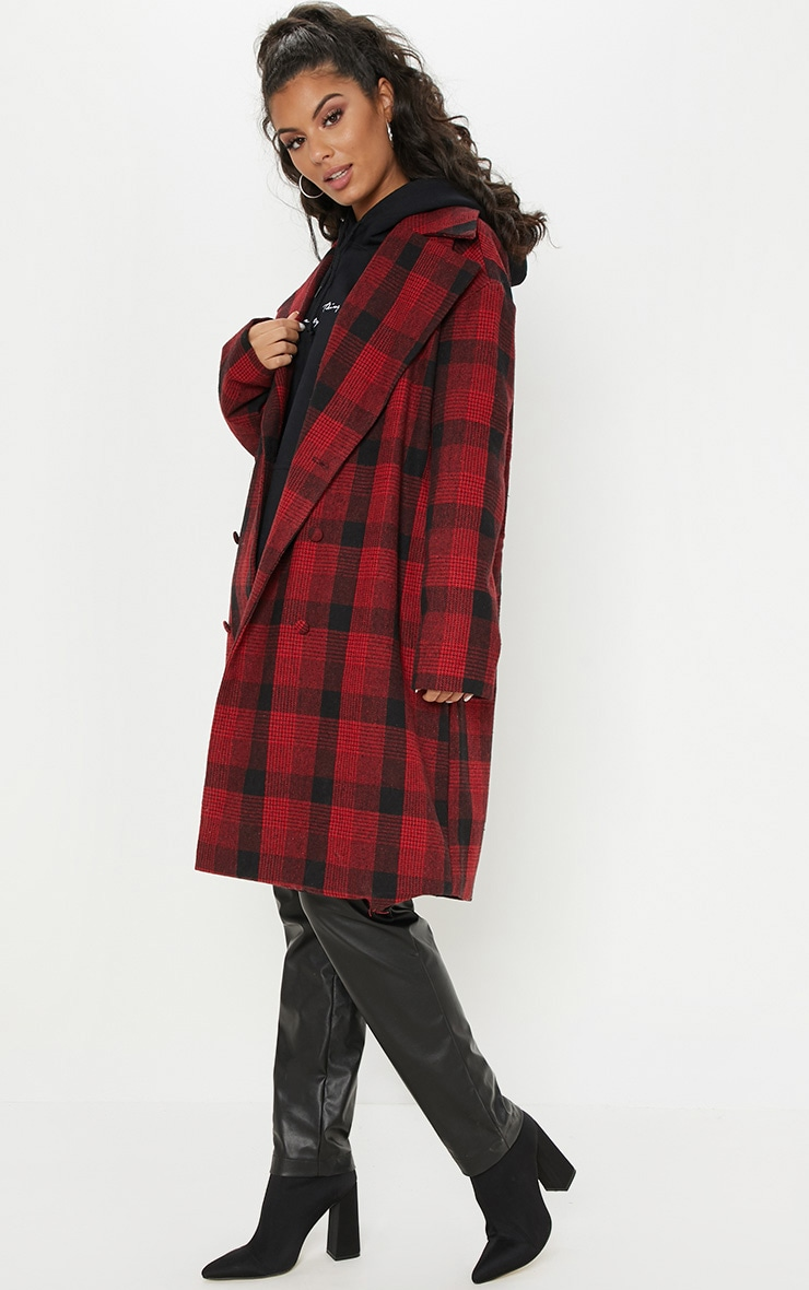 Red Checked Oversized Coat 4