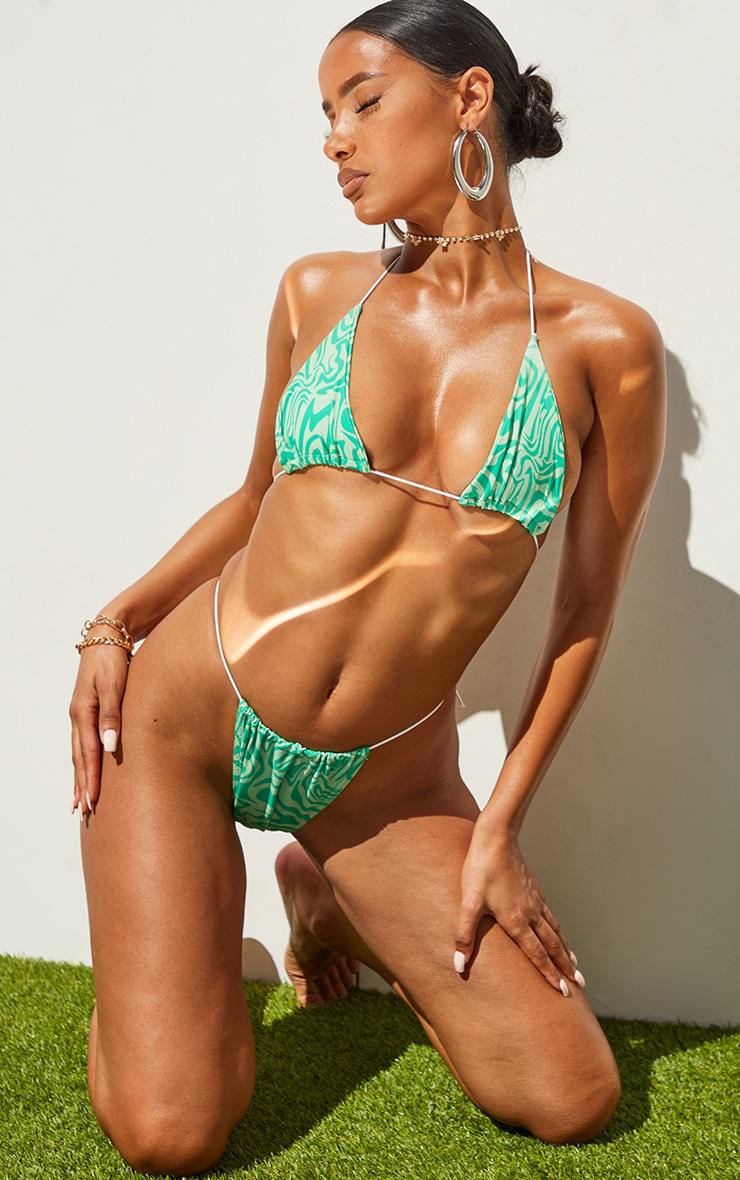 Green Swirl Print Tanga Bikini Bottoms 3