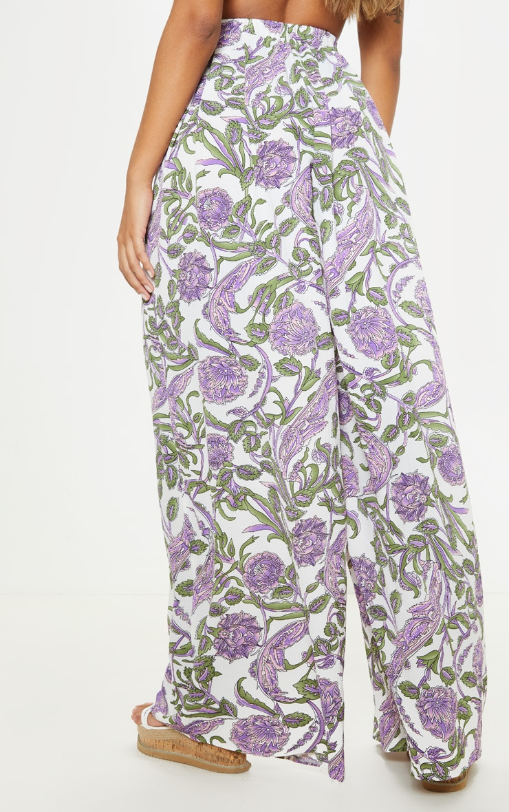 Cream Floral Wide Leg Trouser 4