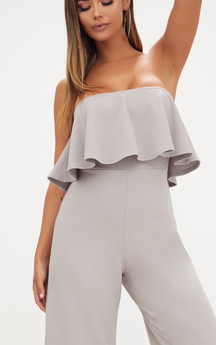 Grey Bardot Double Layer Culotte Jumpsuit 5