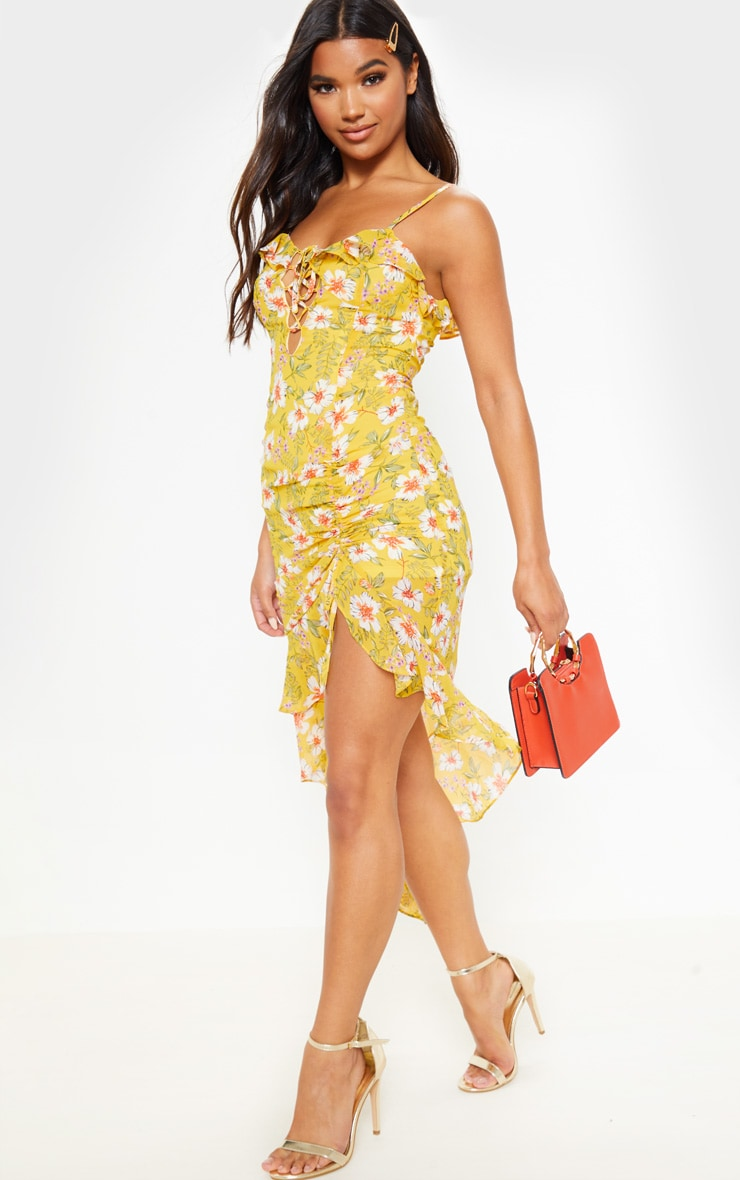 Yellow Floral Print Chiffon Ruched Midi Dress 1