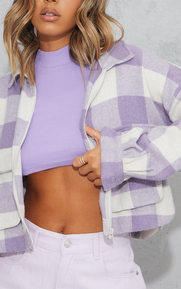 Lilac Checked Cropped Zip Detail Shacket 4