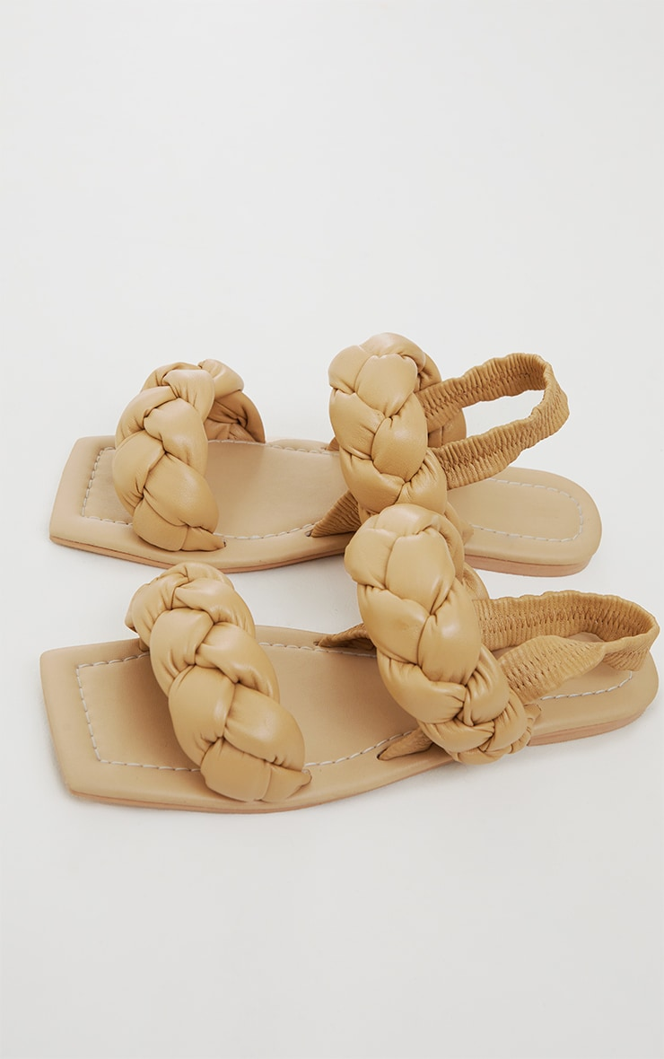 Beige Real Leather Chunky Plaited Square Toe Sandals 4