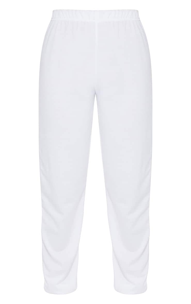 Cream Basic Cuffed Hem Joggers 5