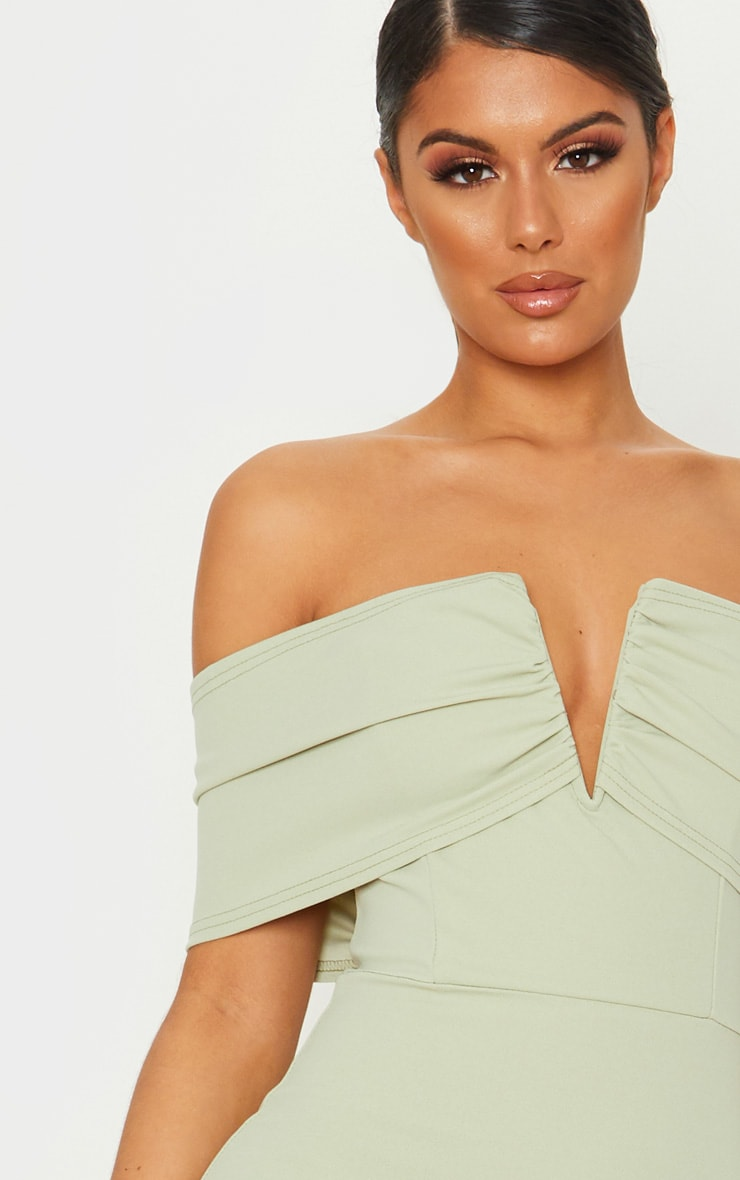 Sage Green V Bar Bardot Midi Dress 5