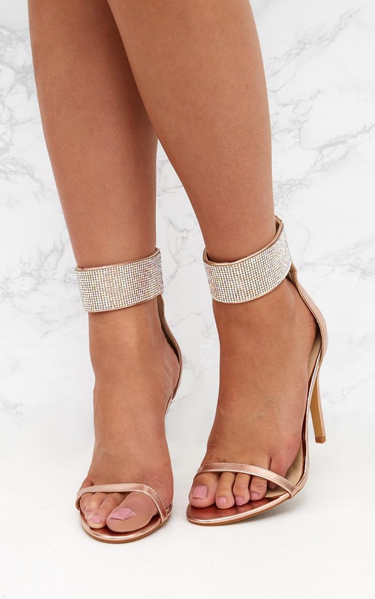 Rose Gold Diamante Cuff Heeled Sandals  2