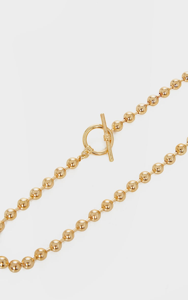Gold Beaded T Bar Necklace 3