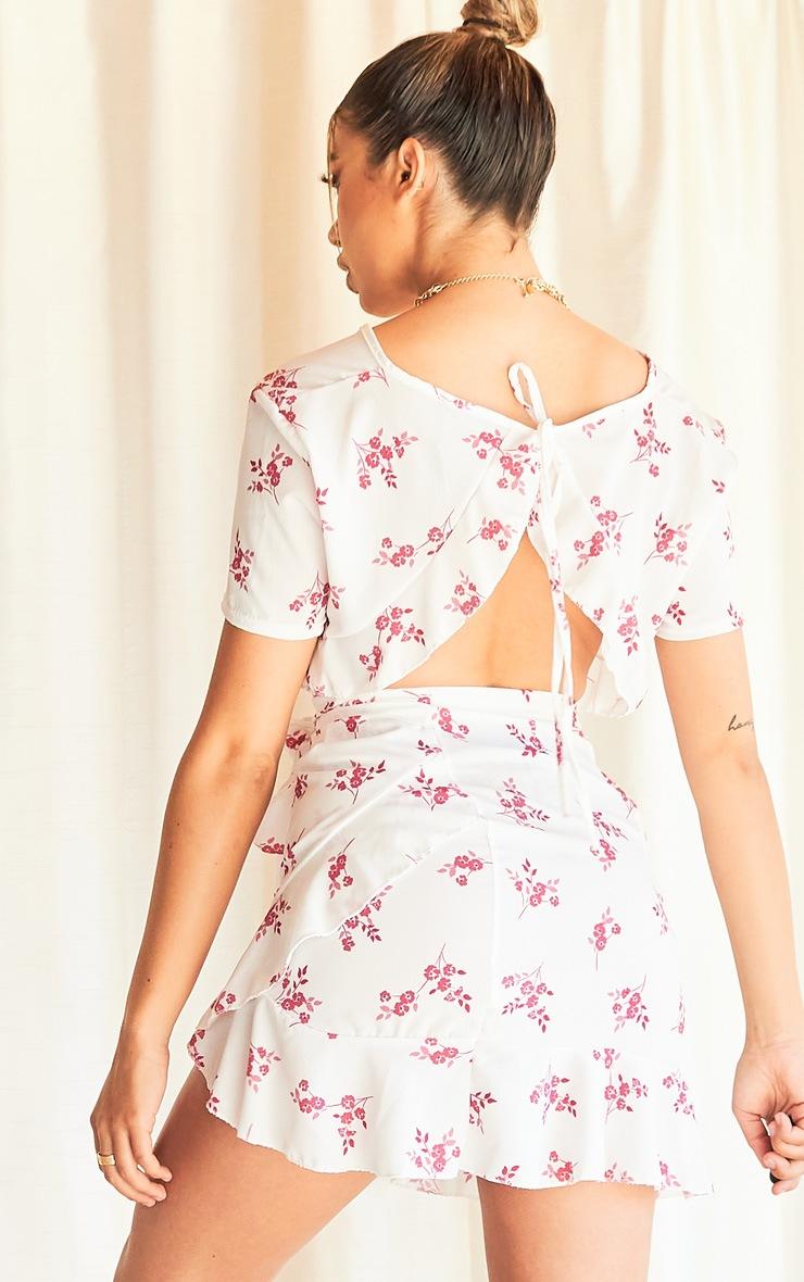 White Floral Print Tie Back Blouse 2