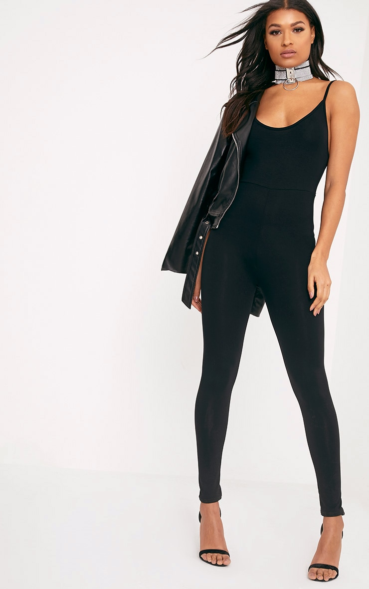 a891aedb1db Khlara Black Jersey Low Back Jumpsuit image 1