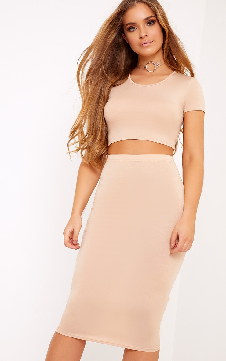 Anaceila Light Sand Jersey Top & Midi Skirt Set 1