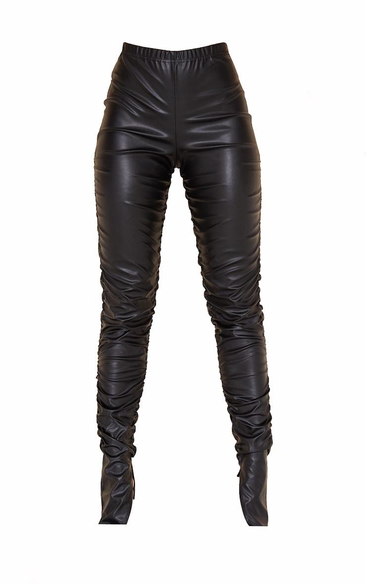 Black Faux Leather Ruched Leg Split Hem Leggings 5