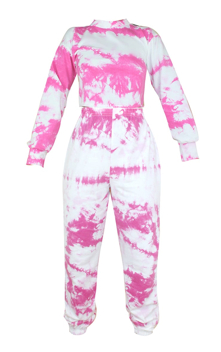 Petite Pink Tie Dye Cropped Sweat and Jogger Set 5