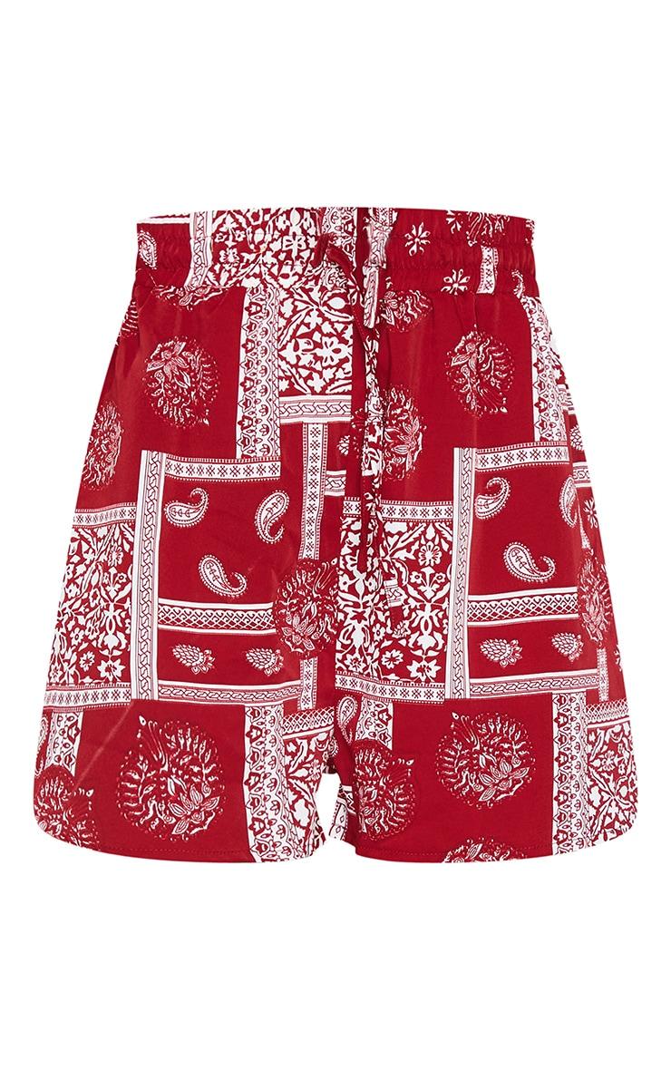 Red Floaty Paisley Print Shorts 6