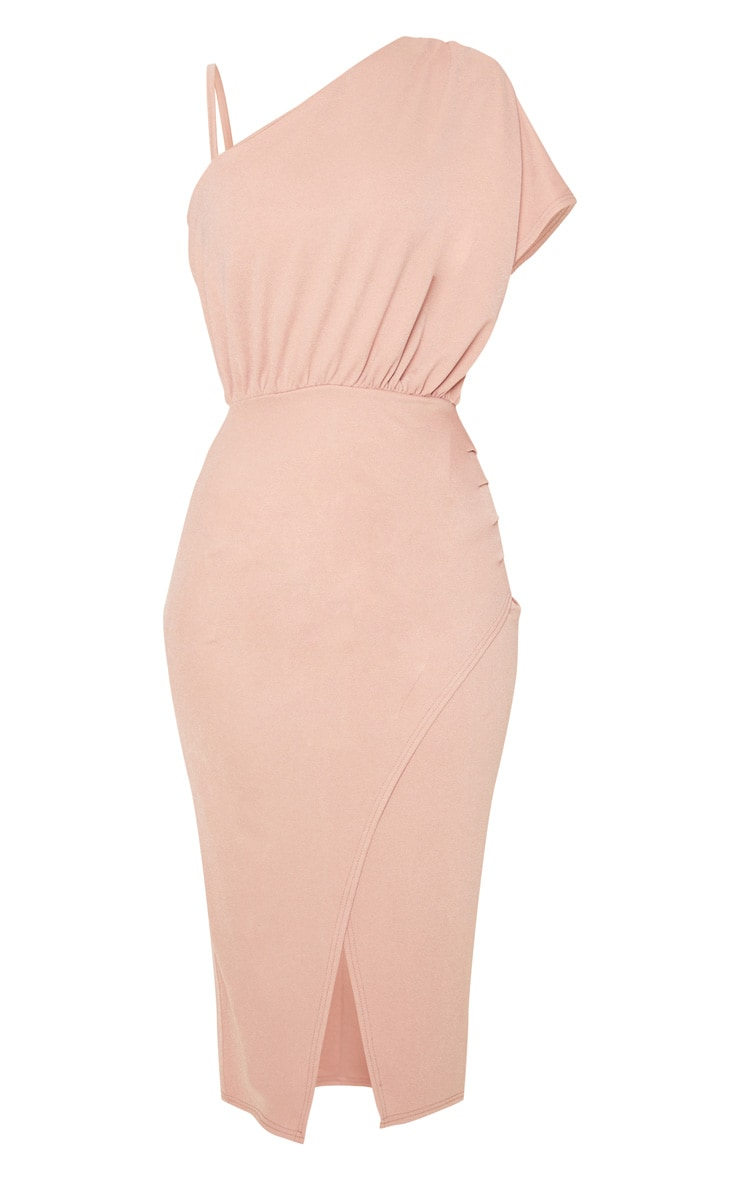 Dusty Pink Drape Detail One Shoulder Midi Dress 3